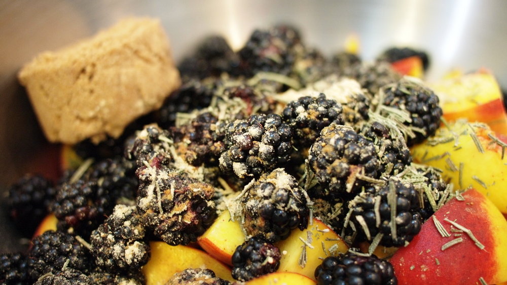 Blackberry, Peach, and Rosemary Crisp
