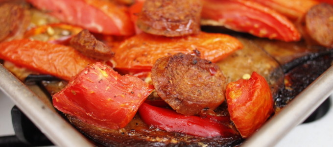 Roasted Nightshades with Sausage