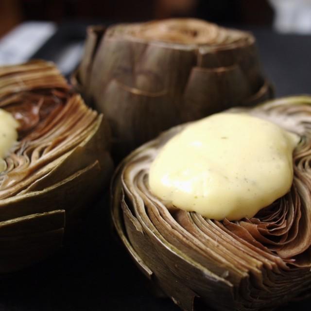 Steamed Artichokes with Garlic-Tarragon Mayonnaise