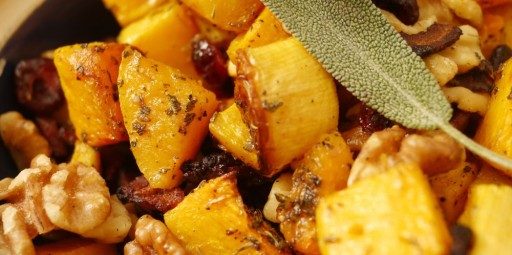 Thanksgiving Thoughts: Roasted Squash with Sage and Bacon